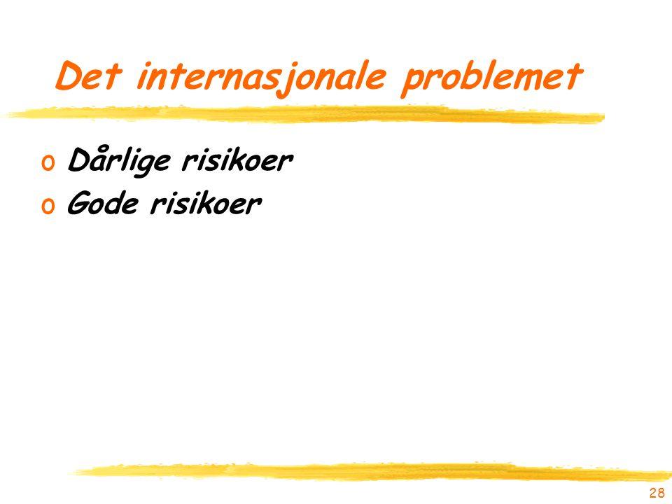 Det internasjonale problemet oDårlige risikoer oGode risikoer 28