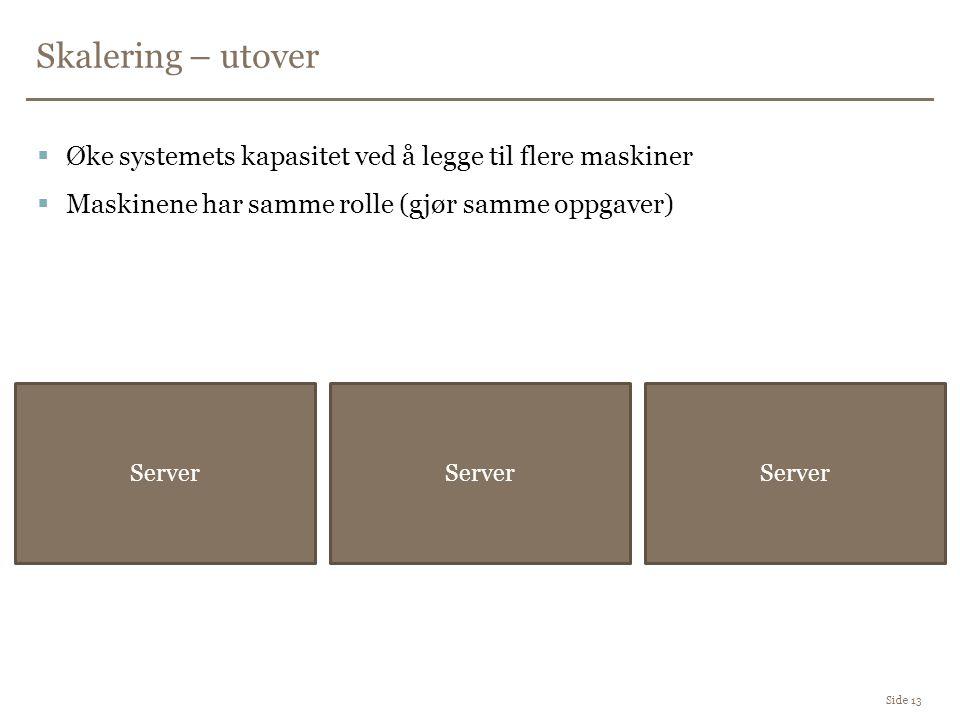 Skalering – utover Side 13  Øke systemets kapasitet ved å legge til flere maskiner  Maskinene har samme rolle (gjør samme oppgaver) Server