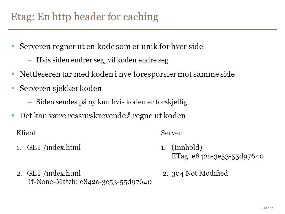 Etag: En http header for caching Side 20  Serveren regner ut en kode som er unik for hver side –Hvis siden endrer seg, vil koden endre seg  Nettleseren tar med koden i nye forespørsler mot samme side  Serveren sjekker koden –Siden sendes på ny kun hvis koden er forskjellig  Det kan være ressurskrevende å regne ut koden 1.GET /index.html 2.GET /index.html If-None-Match: e842a-3e53-55d97640 1.(Innhold) ETag: e842a-3e53-55d97640 2.304 Not Modified KlientServer
