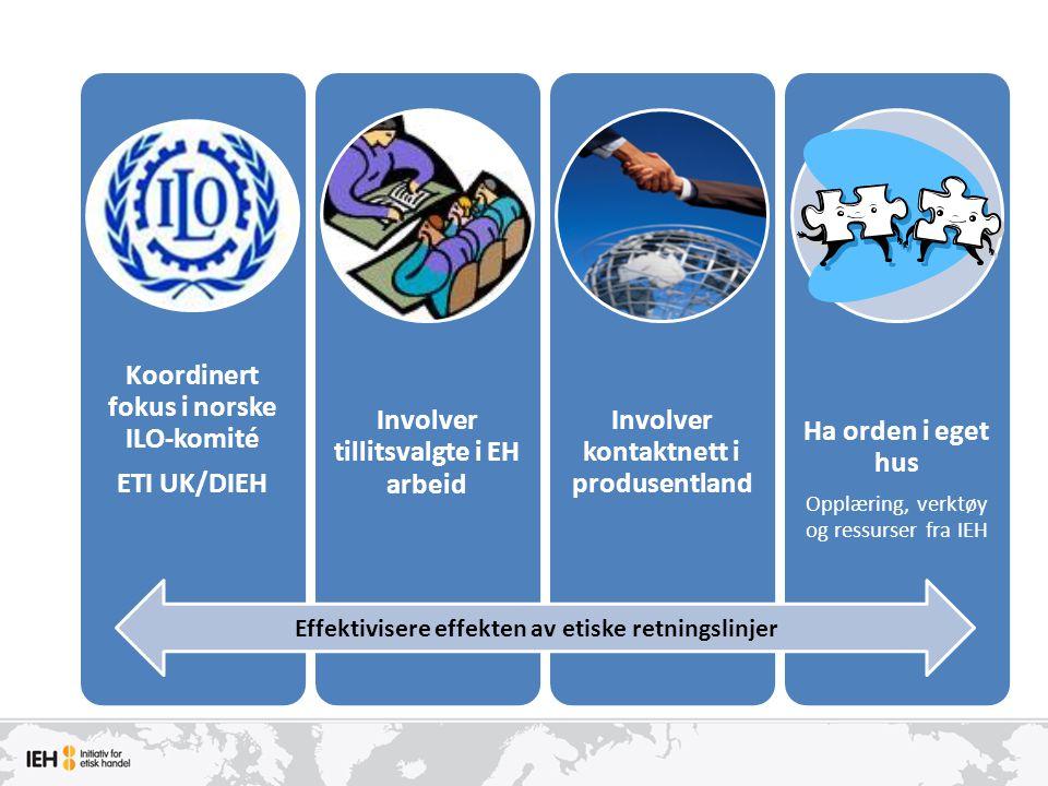 Koordinert fokus i norske ILO-komité ETI UK/DIEH Involver tillitsvalgte i EH arbeid Involver kontaktnett i produsentland Ha orden i eget hus Opplæring, verktøy og ressurser fra IEH Effektivisere effekten av etiske retningslinjer