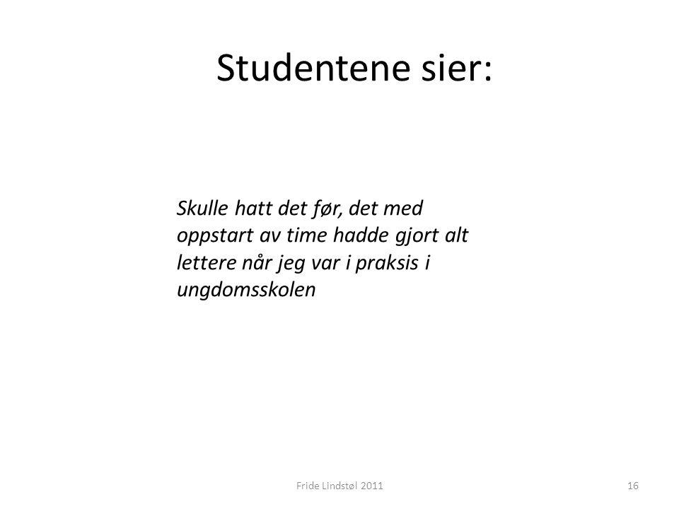 Studentene sier: Skulle hatt det før, det med oppstart av time hadde gjort alt lettere når jeg var i praksis i ungdomsskolen 16Fride Lindstøl 2011
