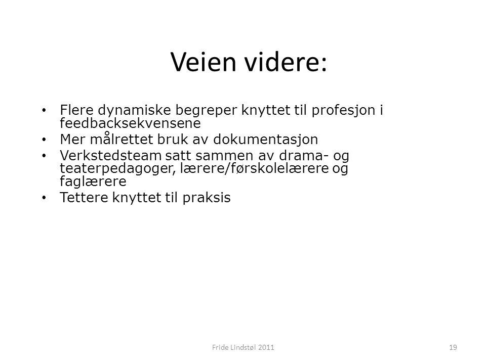 Veien videre: Flere dynamiske begreper knyttet til profesjon i feedbacksekvensene Mer målrettet bruk av dokumentasjon Verkstedsteam satt sammen av drama- og teaterpedagoger, lærere/førskolelærere og faglærere Tettere knyttet til praksis 19Fride Lindstøl 2011