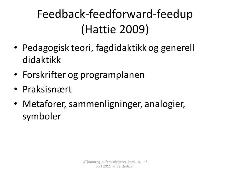 Feedback-feedforward-feedup (Hattie 2009) Pedagogisk teori, fagdidaktikk og generell didaktikk Forskrifter og programplanen Praksisnært Metaforer, sammenligninger, analogier, symboler (UT)danning til førskolelærer, konf.