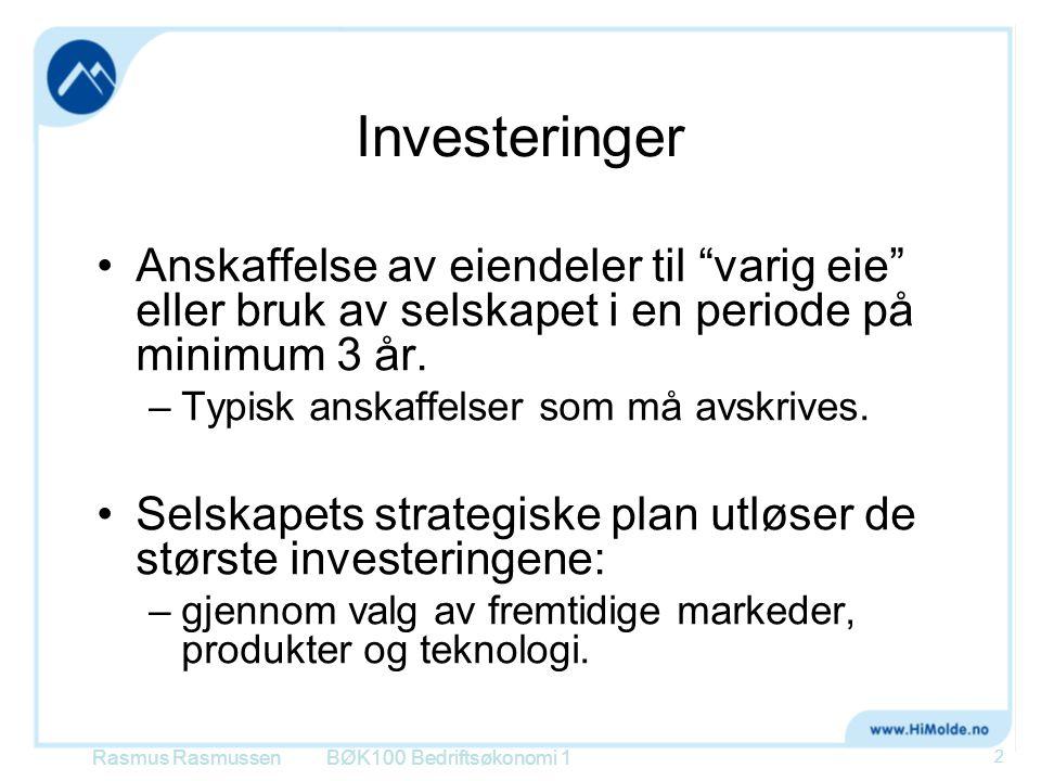 """Investeringer Anskaffelse av eiendeler til """"varig eie"""" eller bruk av selskapet i en periode på minimum 3 år. –Typisk anskaffelser som må avskrives. Se"""