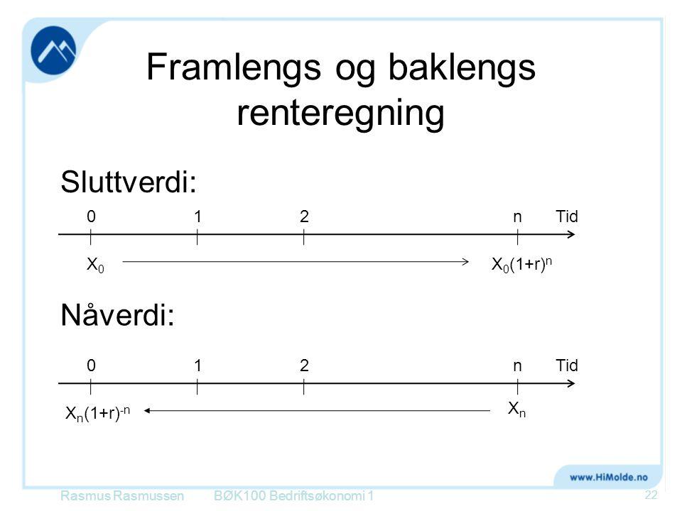 Framlengs og baklengs renteregning Sluttverdi: Rasmus RasmussenBØK100 Bedriftsøkonomi 1 22 012nTid X0X0 X 0 (1+r) n Nåverdi: 012nTid XnXn X n (1+r) -n