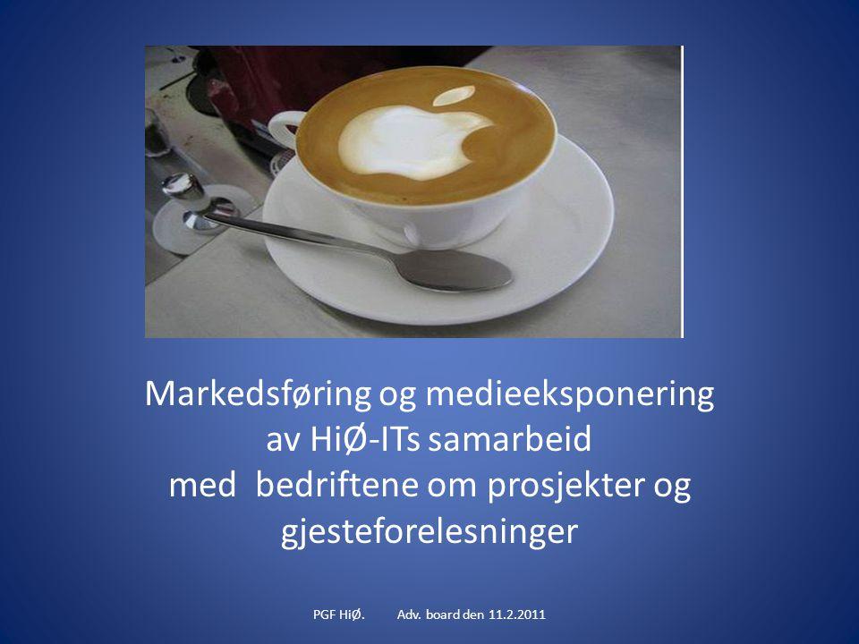 Markedsføring og medieeksponering av HiØ-ITs samarbeid med bedriftene om prosjekter og gjesteforelesninger PGF HiØ.