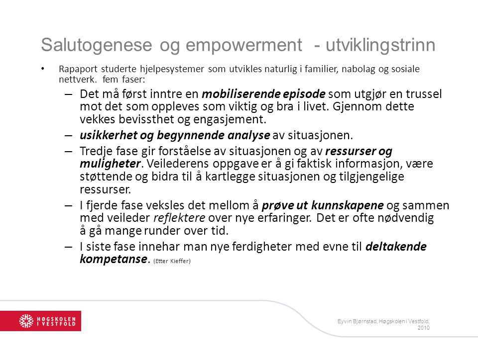 Eyvin Bjørnstad, Høgskolen i Vestfold, 2010 Salutogenese og empowerment - utviklingstrinn Rapaport studerte hjelpesystemer som utvikles naturlig i fam