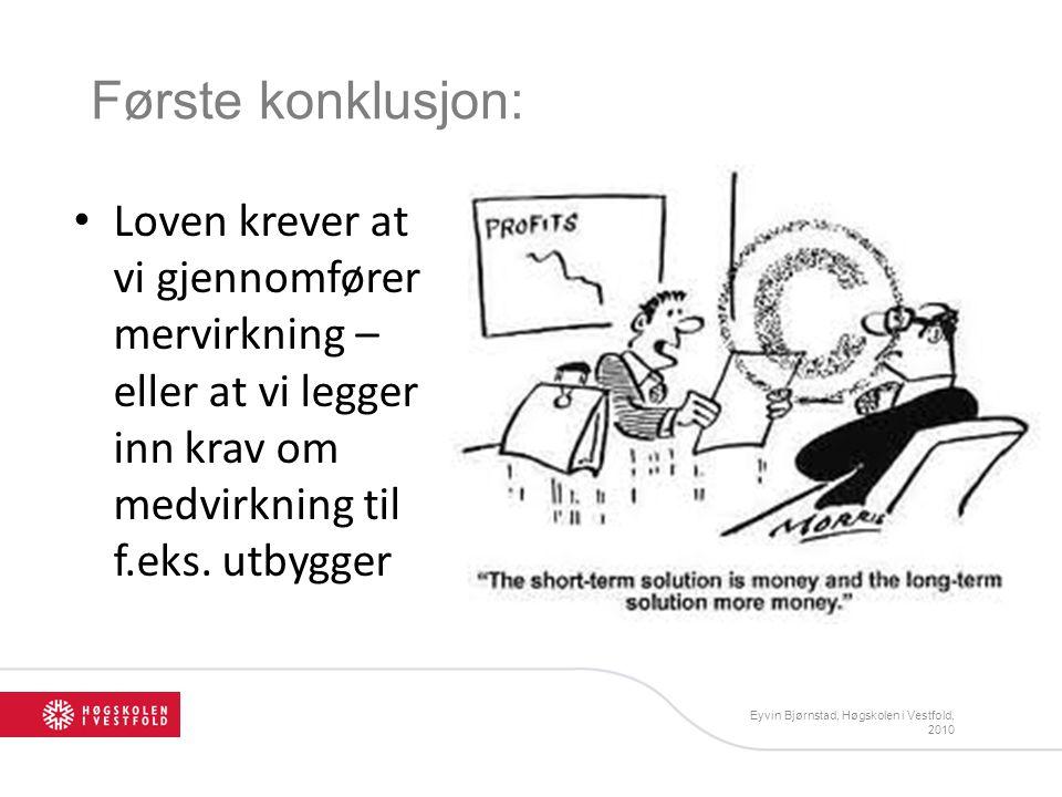Første konklusjon: Loven krever at vi gjennomfører mervirkning – eller at vi legger inn krav om medvirkning til f.eks. utbygger Eyvin Bjørnstad, Høgsk