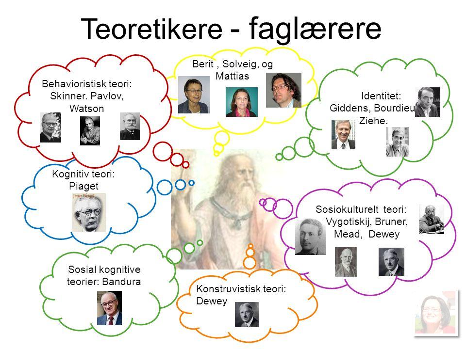 Teoretikere - faglærere Berit, Solveig, og Mattias Kognitiv teori: Piaget Identitet: Giddens, Bourdieu, Ziehe. Behavioristisk teori: Skinner. Pavlov,