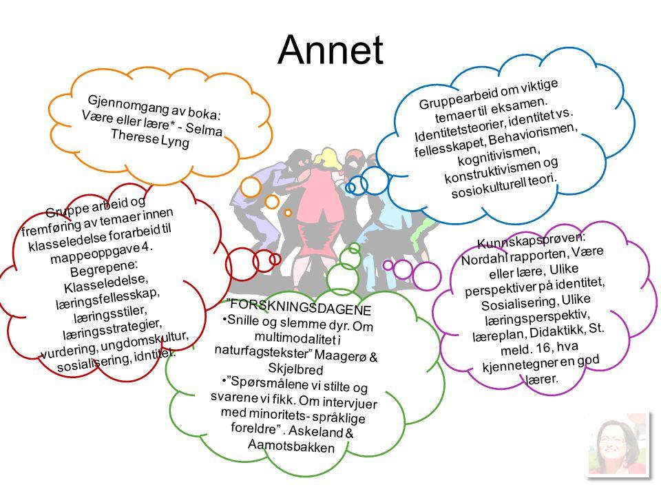 Annet Gruppearbeid om viktige temaer til eksamen. Identitetsteorier, identitet vs. fellesskapet, Behaviorismen, kognitivismen, konstruktivismen og sos