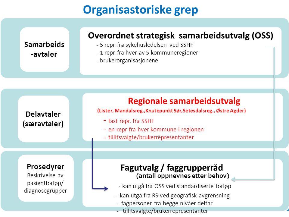 h Overordnet strategisk samarbeidsutvalg (OSS) - 5 repr fra sykehusledelsen ved SSHF - 1 repr fra hver av 5 kommuneregioner - brukerorganisasjonene Re