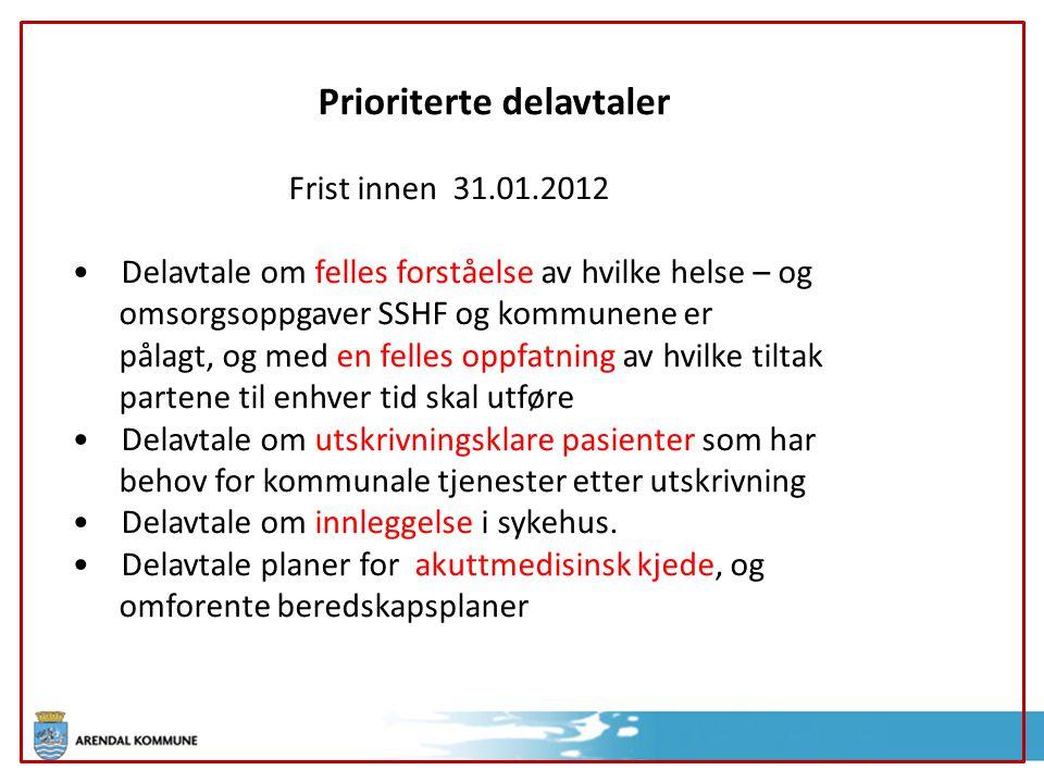 Prioriterte delavtaler Frist innen 31.01.2012 Delavtale om felles forståelse av hvilke helse – og omsorgsoppgaver SSHF og kommunene er pålagt, og med