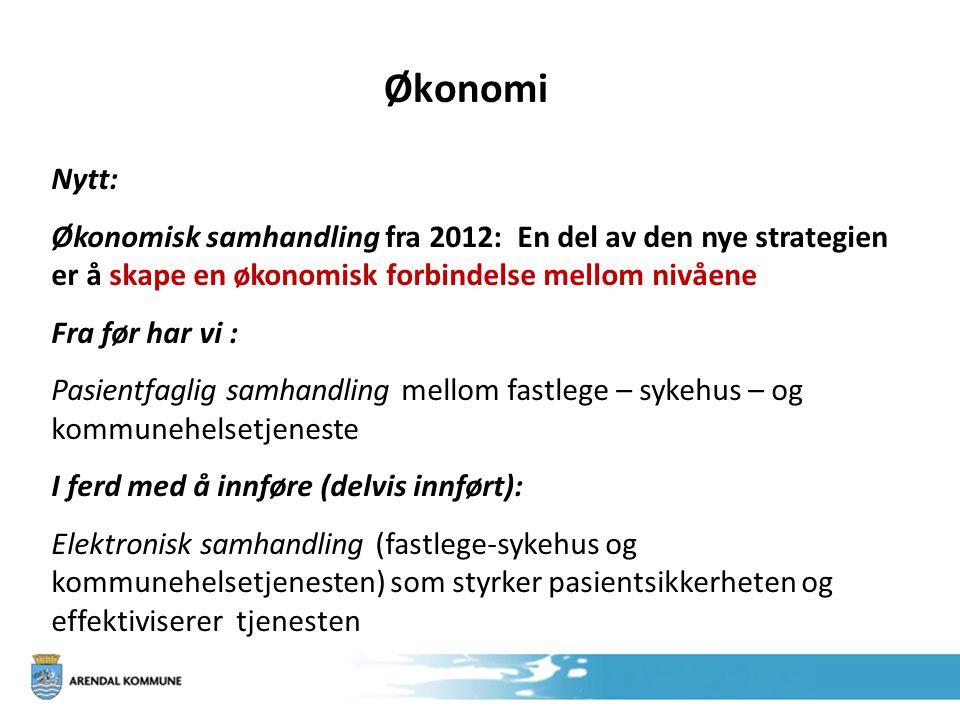Økonomi Nytt: Økonomisk samhandling fra 2012: En del av den nye strategien er å skape en økonomisk forbindelse mellom nivåene Fra før har vi : Pasient