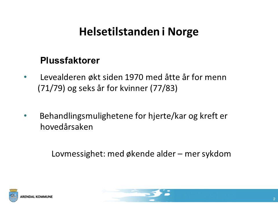 2 Helsetilstanden i Norge Plussfaktorer Levealderen økt siden 1970 med åtte år for menn (71/79) og seks år for kvinner (77/83) Behandlingsmulighetene
