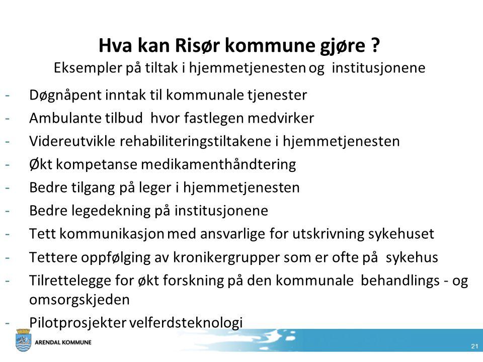 21 Hva kan Risør kommune gjøre ? Eksempler på tiltak i hjemmetjenesten og institusjonene -Døgnåpent inntak til kommunale tjenester -Ambulante tilbud h