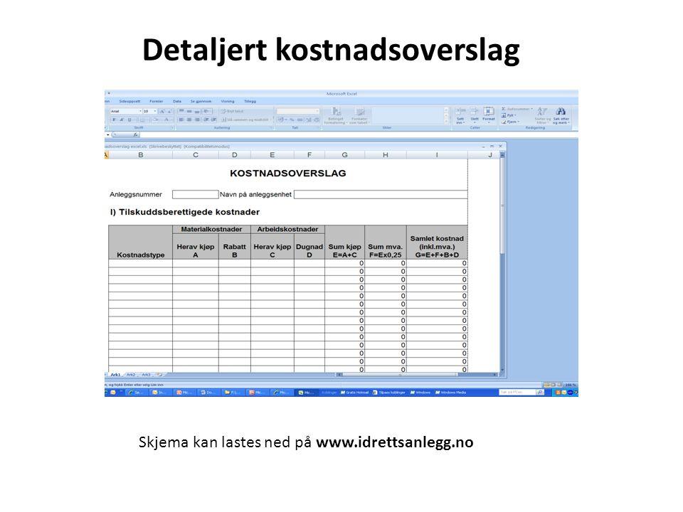 Detaljert kostnadsoverslag Skjema kan lastes ned på www.idrettsanlegg.no