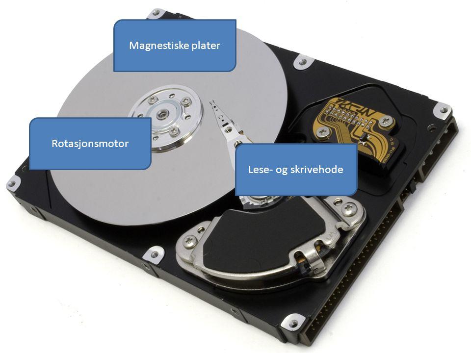 Magnestiske plater Lese- og skrivehode Rotasjonsmotor