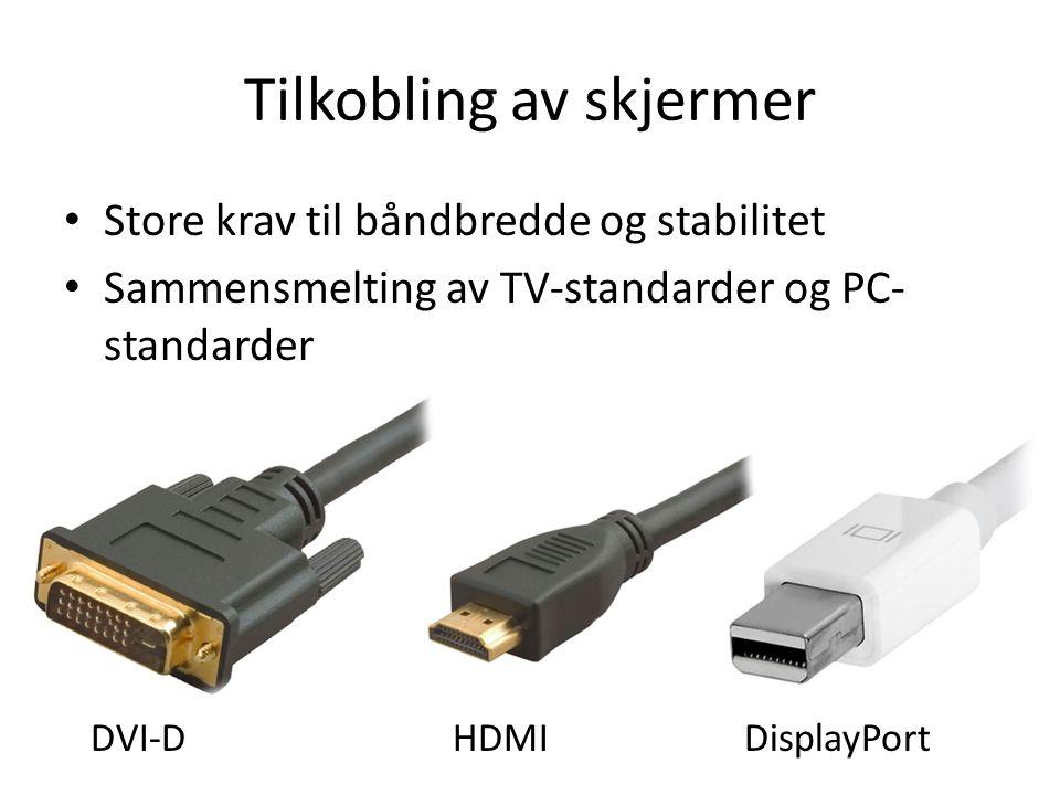 Tilkobling av skjermer Store krav til båndbredde og stabilitet Sammensmelting av TV-standarder og PC- standarder DVI-DHDMIDisplayPort