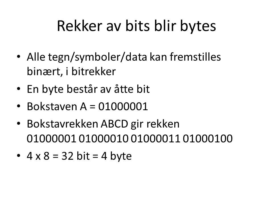 Rekker av bits blir bytes Alle tegn/symboler/data kan fremstilles binært, i bitrekker En byte består av åtte bit Bokstaven A = 01000001 Bokstavrekken ABCD gir rekken 01000001 01000010 01000011 01000100 4 x 8 = 32 bit = 4 byte