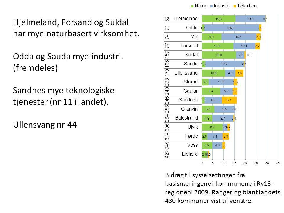 Bidrag til sysselsettingen fra basisnæringene i kommunene i Rv13- regioneni 2009.