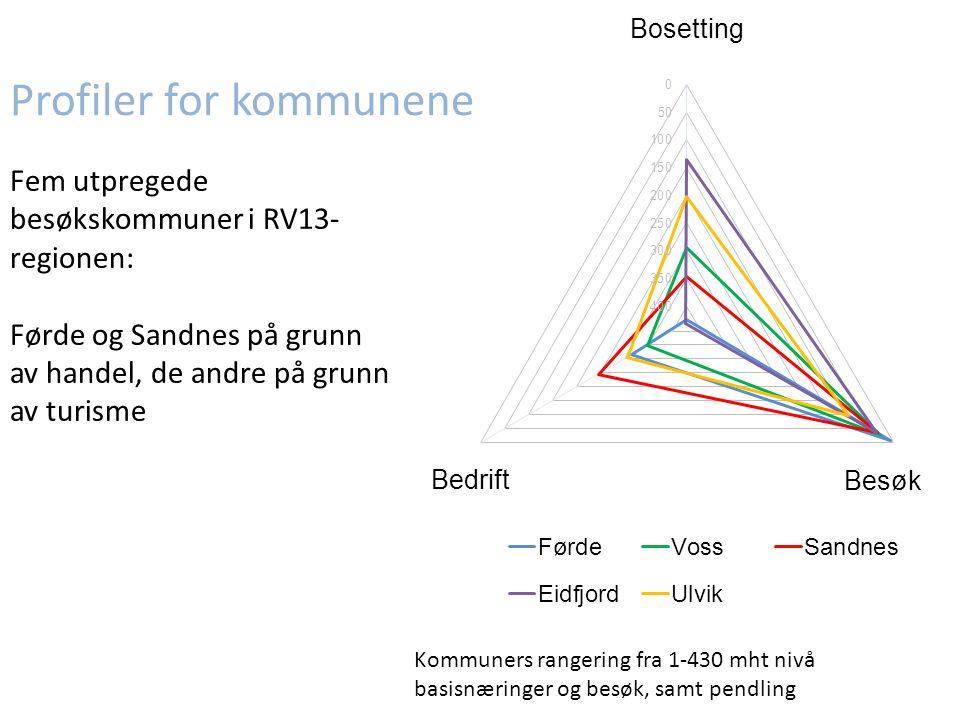 Profiler for kommunene Fem utpregede besøkskommuner i RV13- regionen: Førde og Sandnes på grunn av handel, de andre på grunn av turisme Kommuners rangering fra 1-430 mht nivå basisnæringer og besøk, samt pendling