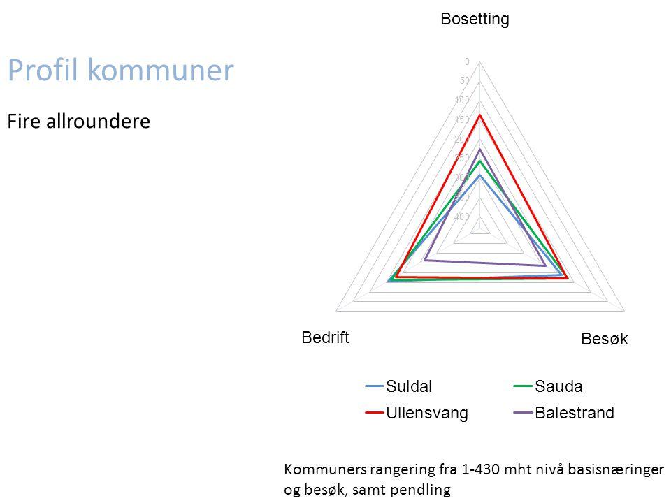 Profil kommuner Fire allroundere Kommuners rangering fra 1-430 mht nivå basisnæringer og besøk, samt pendling