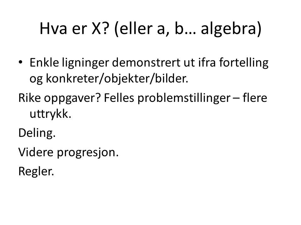 Hva er X? (eller a, b… algebra) Enkle ligninger demonstrert ut ifra fortelling og konkreter/objekter/bilder. Rike oppgaver? Felles problemstillinger –
