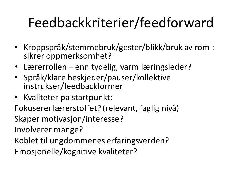 Feedbackkriterier/feedforward Kroppspråk/stemmebruk/gester/blikk/bruk av rom : sikrer oppmerksomhet? Lærerrollen – enn tydelig, varm læringsleder? Spr