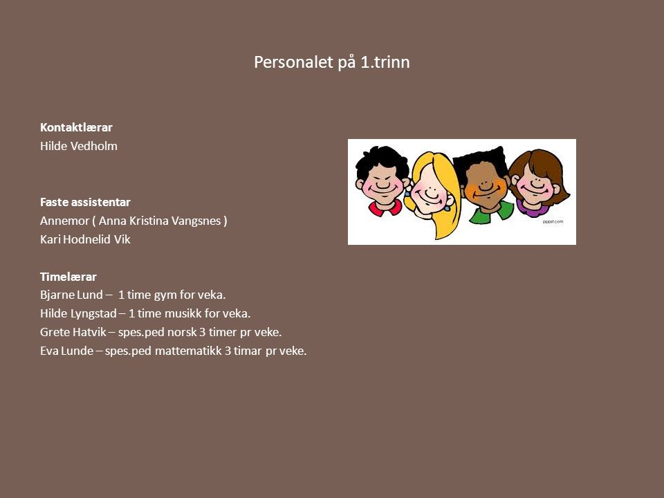 Personalet på 1.trinn Kontaktlærar Hilde Vedholm Faste assistentar Annemor ( Anna Kristina Vangsnes ) Kari Hodnelid Vik Timelærar Bjarne Lund – 1 time
