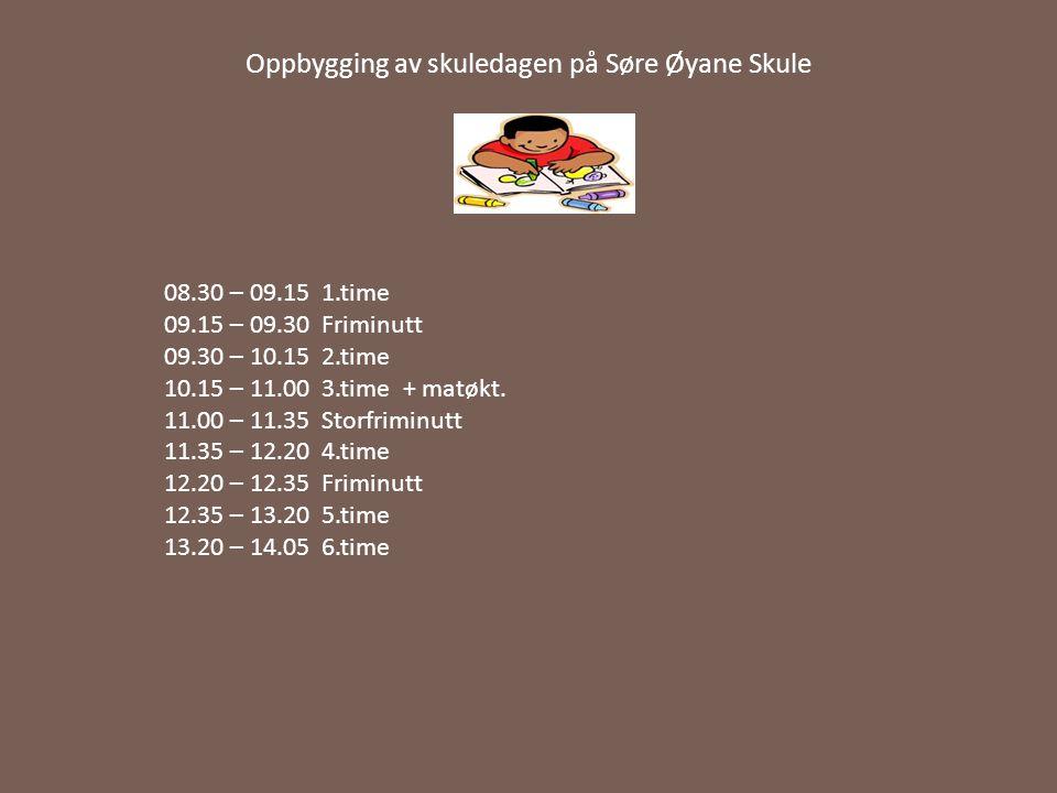 Oppbygging av skuledagen på Søre Øyane Skule 08.30 – 09.15 1.time 09.15 – 09.30 Friminutt 09.30 – 10.15 2.time 10.15 – 11.00 3.time + matøkt. 11.00 –