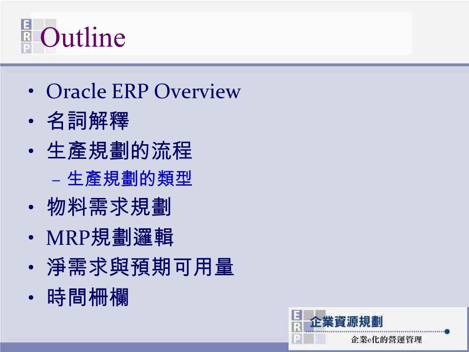 Outline Oracle ERP Overview 名詞解釋 生產規劃的流程 – 生產規劃的類型 物料需求規劃 MRP 規劃邏輯 淨需求與預期可用量 時間柵欄