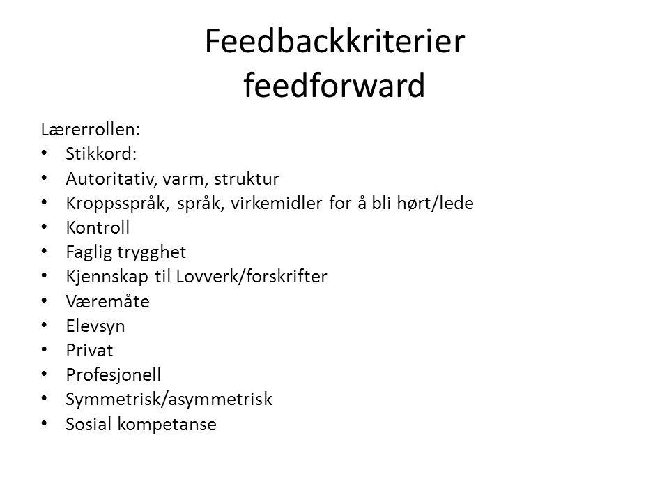 Feedbackkriterier feedforward Lærerrollen: Stikkord: Autoritativ, varm, struktur Kroppsspråk, språk, virkemidler for å bli hørt/lede Kontroll Faglig t