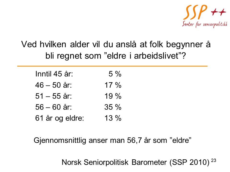 Ved hvilken alder vil du anslå at folk begynner å bli regnet som eldre i arbeidslivet .