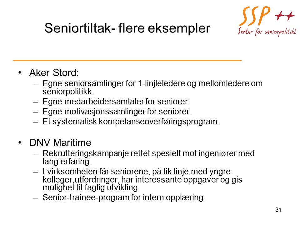 Seniortiltak- flere eksempler Aker Stord: –Egne seniorsamlinger for 1-linjleledere og mellomledere om seniorpolitikk.