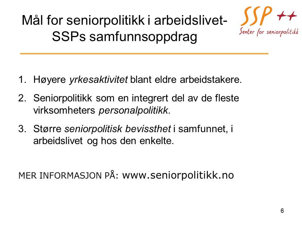 Mål for seniorpolitikk i arbeidslivet- SSPs samfunnsoppdrag 1.Høyere yrkesaktivitet blant eldre arbeidstakere.