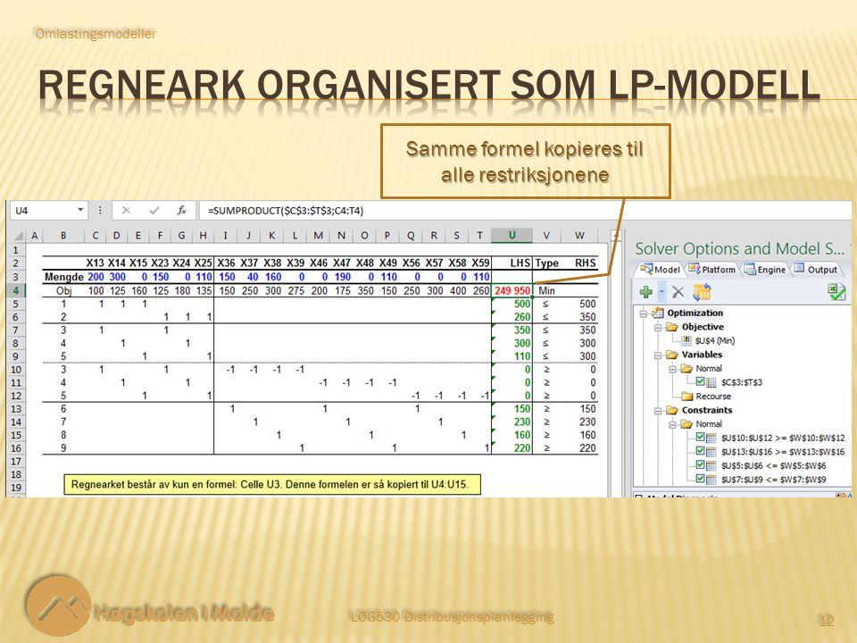 LOG530 Distribusjonsplanlegging 12 Omlastingsmodeller Samme formel kopieres til alle restriksjonene