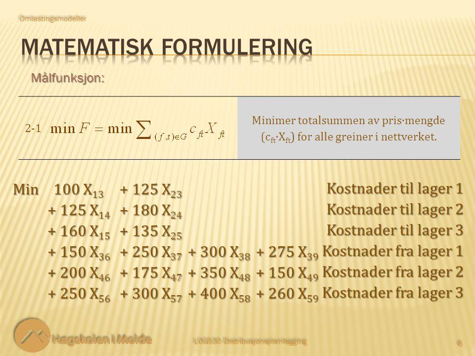LOG530 Distribusjonsplanlegging 6 6 Målfunksjon: 2‑12‑1 Minimer totalsummen av pris∙mengde (c ft ∙X ft ) for alle greiner i nettverket.