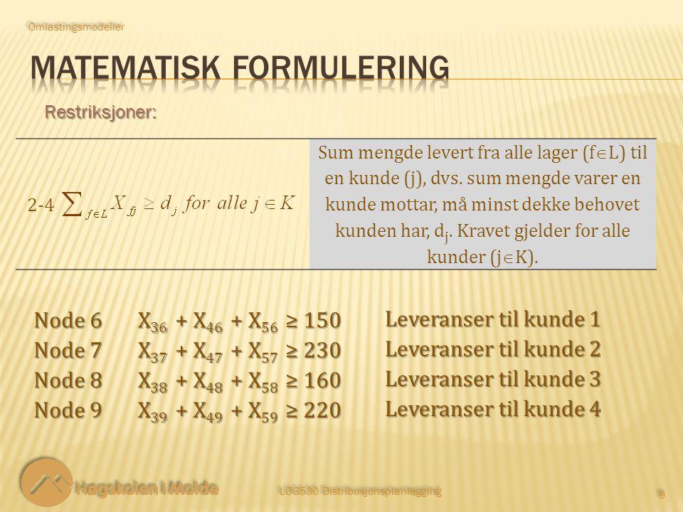 LOG530 Distribusjonsplanlegging 9 9 Restriksjoner: 2‑42‑4 Sum mengde levert fra alle lager (f  L) til en kunde (j), dvs.