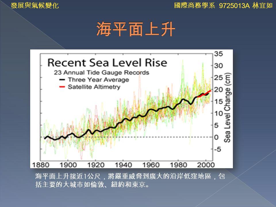 海平面上升接近 1 公尺,將嚴重威脅到廣大的沿岸低窪地區,包 括主要的大城市如倫敦、紐約和東京。