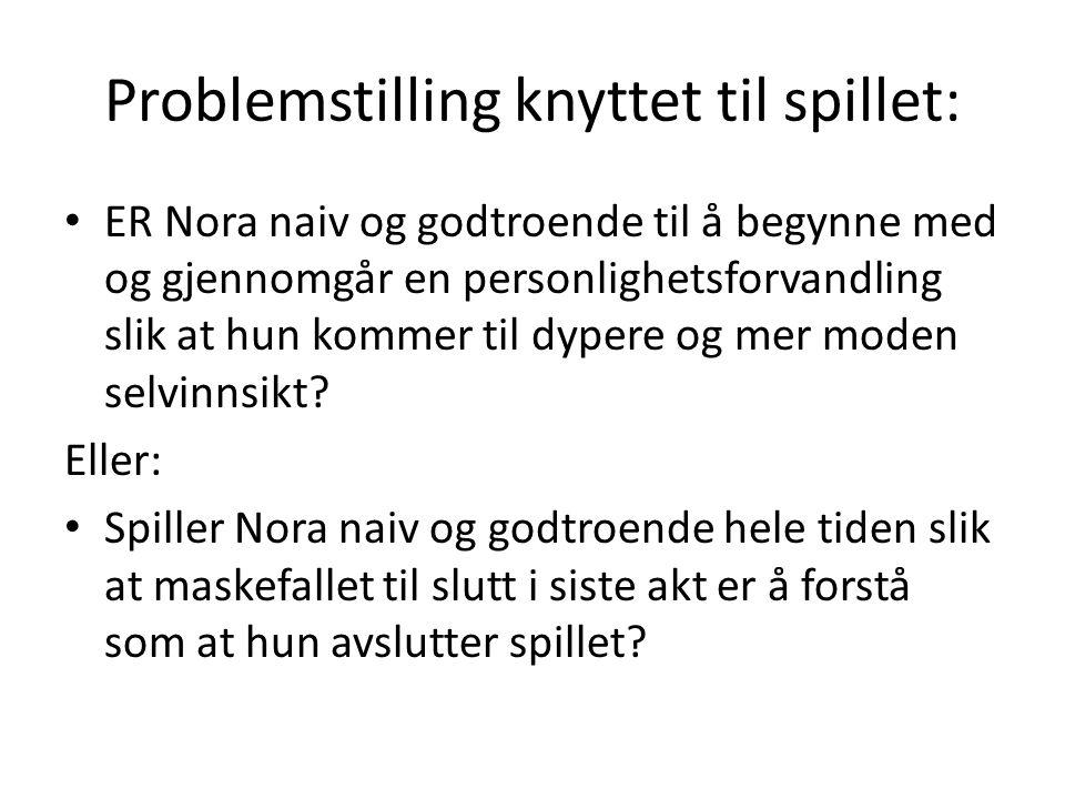 Problemstilling knyttet til spillet: ER Nora naiv og godtroende til å begynne med og gjennomgår en personlighetsforvandling slik at hun kommer til dypere og mer moden selvinnsikt.