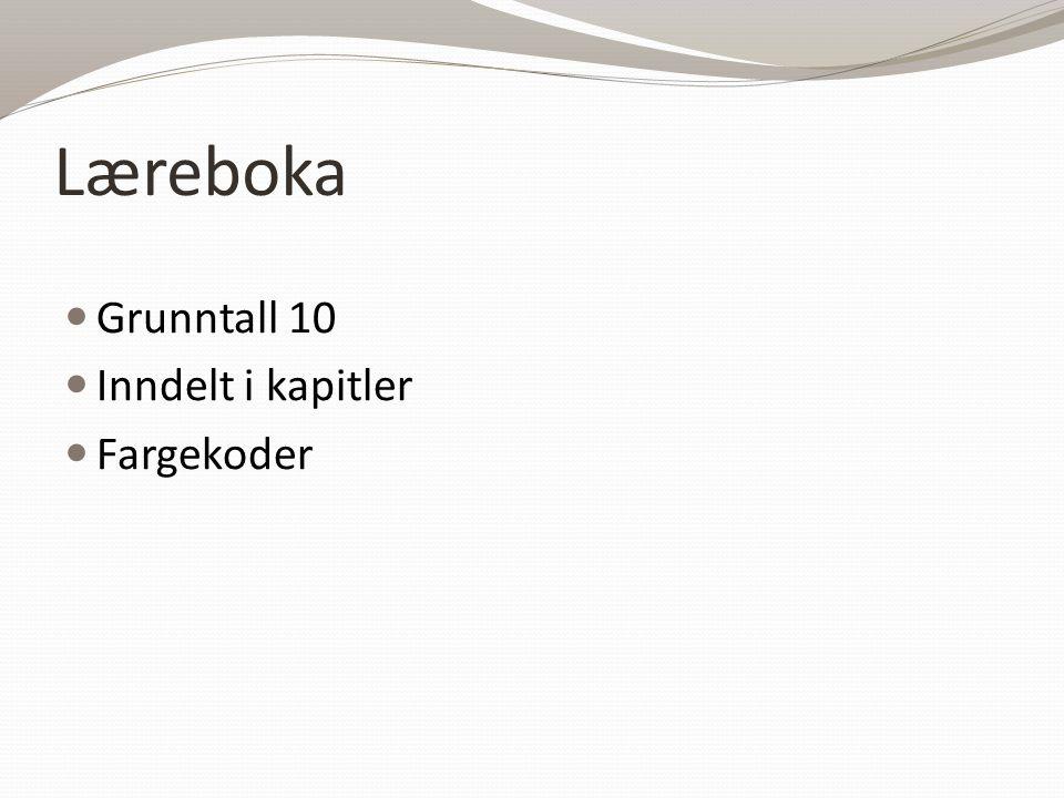Læreboka Grunntall 10 Inndelt i kapitler Fargekoder