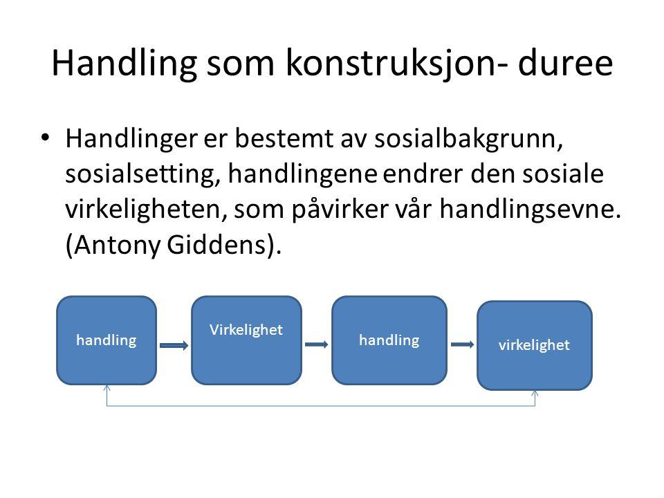 Handling som konstruksjon- duree Handlinger er bestemt av sosialbakgrunn, sosialsetting, handlingene endrer den sosiale virkeligheten, som påvirker vår handlingsevne.