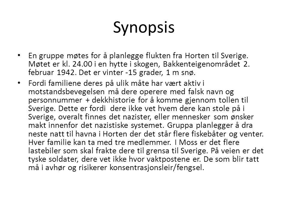 Synopsis En gruppe møtes for å planlegge flukten fra Horten til Sverige. Møtet er kl. 24.00 i en hytte i skogen, Bakkenteigenområdet 2. februar 1942.