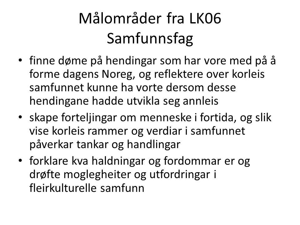 Målområder fra LK06 Samfunnsfag finne døme på hendingar som har vore med på å forme dagens Noreg, og reflektere over korleis samfunnet kunne ha vorte