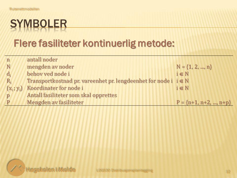 LOG530 Distribusjonsplanlegging 12 Rutenettmodellen Flere fasiliteter kontinuerlig metode: n antall noder N mengden av noder N = {1, 2,..., n} dididid