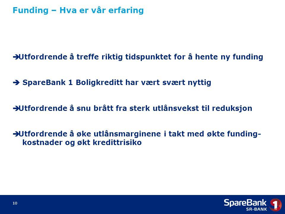 10 Funding – Hva er vår erfaring  Utfordrende å treffe riktig tidspunktet for å hente ny funding  SpareBank 1 Boligkreditt har vært svært nyttig  U