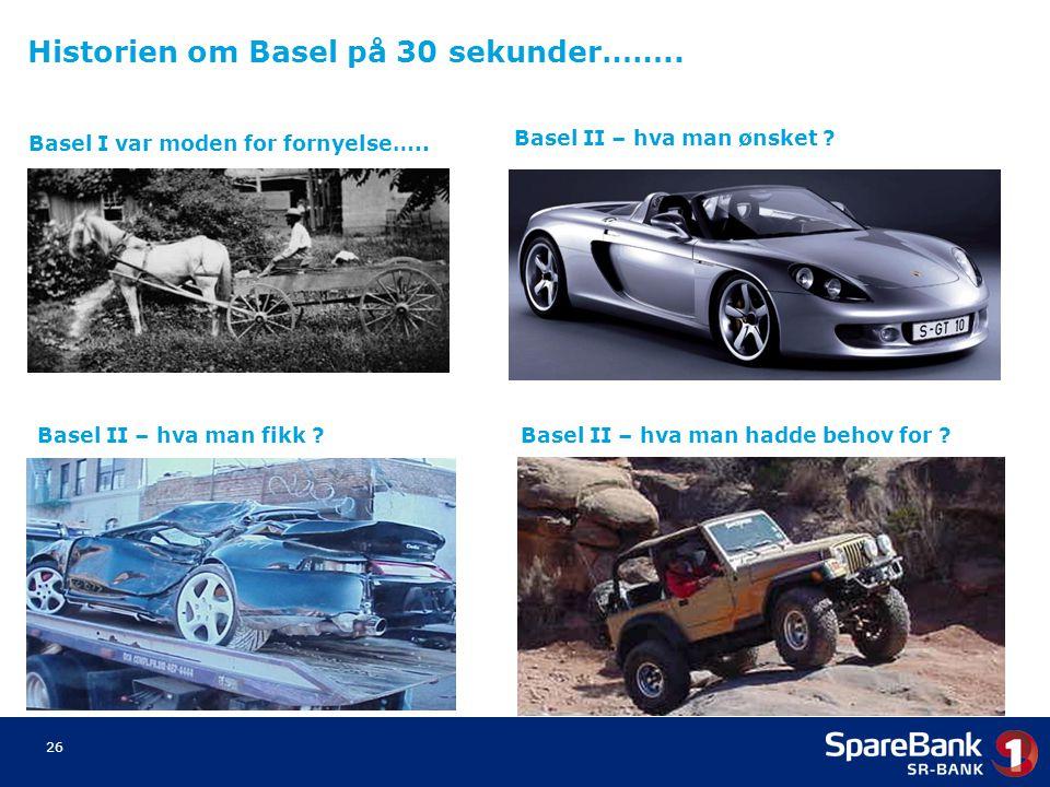 26 Basel I var moden for fornyelse….. Basel II – hva man ønsket ? Basel II – hva man fikk ?Basel II – hva man hadde behov for ? Historien om Basel på