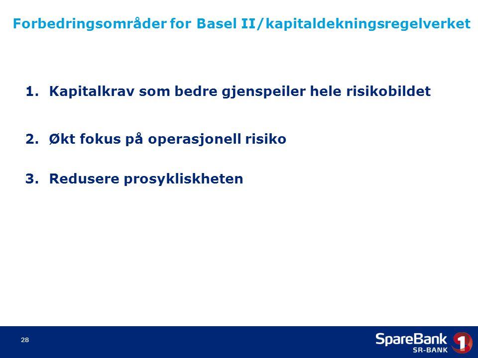 28 Forbedringsområder for Basel II/kapitaldekningsregelverket 1.Kapitalkrav som bedre gjenspeiler hele risikobildet 2.Økt fokus på operasjonell risiko
