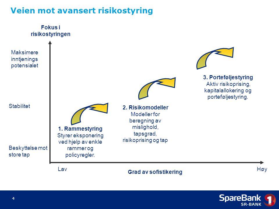 4 1. Rammestyring Styrer eksponering ved hjelp av enkle rammer og policyregler. 2. Risikomodeller Modeller for beregning av mislighold, tapsgrad, risi