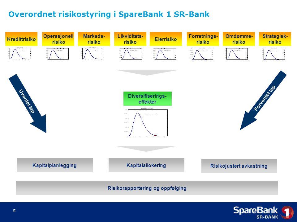 5 Kredittrisiko Operasjonell risiko Markeds- risiko Likviditets- risiko Forretnings- risiko Omdømme- risiko Strategisk- risiko Eierrisiko Diversifiser